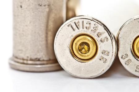 closeup of  38 special revolver handgun bullet  used  photo