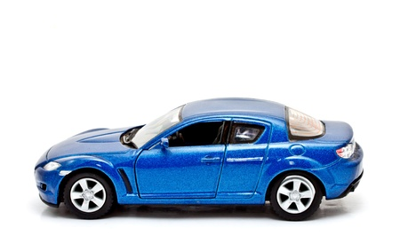 Ordinaire Blue Sport Car Model On White Background Photo