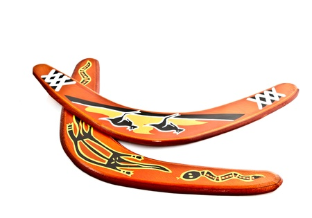 boomerangs: two boomerangs on white background Stock Photo