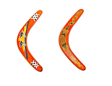 isolated two different painted boomerang Stock Photo - 13102747