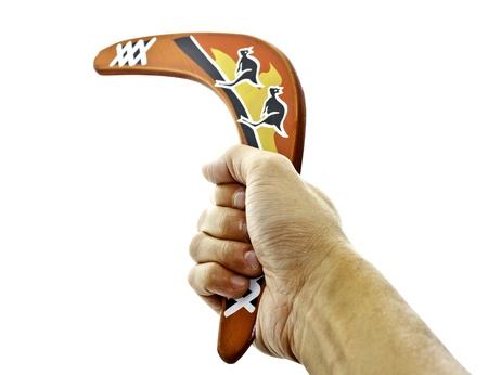 a hand holding a boomerang on white background photo