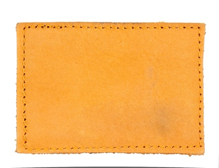 isolated blank jean leather label photo