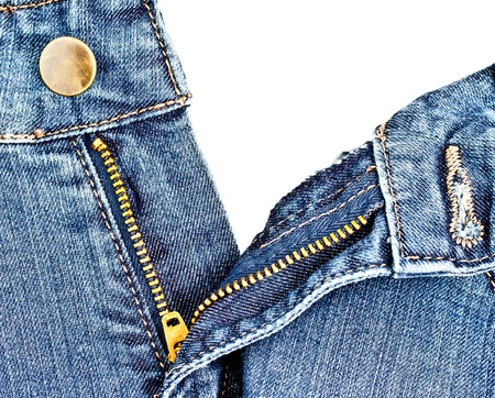 jean zipper, unziped position Stock Photo