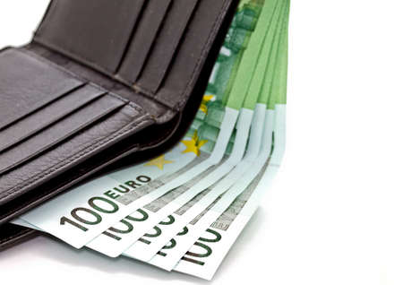 euro banknote: Euro banknote in black wallet in white background