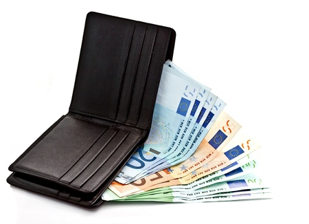 Euro banknotes in black wallet in white background photo
