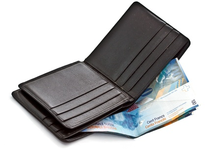 swiss franc: Wallet with Swiss Franc banknotes