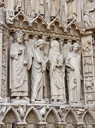 notre dame de paris: Saint sculptures at the Notre Dame Cathedral, Paris