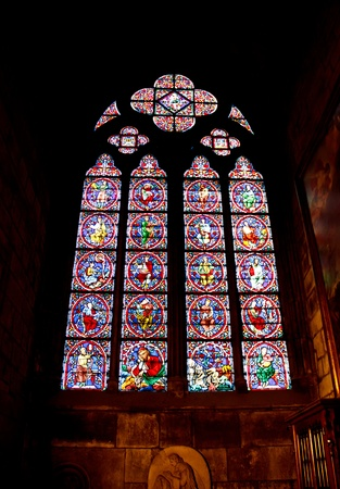 gothic window: Stained glass window in the Notre Dame Cathedral, Paris