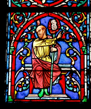 Stained glass window in the Notre Dame Cathedral, Paris Stock Photo - 13418788
