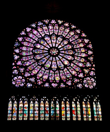 Rose window in Notre Dame Cathedral, Paris photo