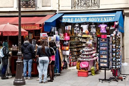 Souvenir shop near Notre Dame Cathedral, Paris