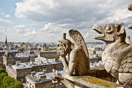 Chimera sculptures and Paris s skyline at the top of Notre Dame Cathedral photo