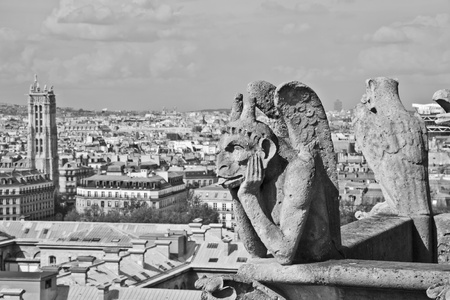 chimera: Chimera sculpture and Paris s skyline at the top of Notre Dame Cathedral Stock Photo
