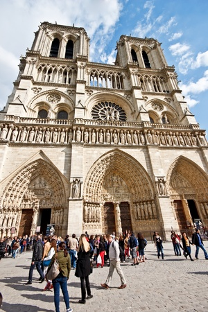 notre: Tourists at Notre Dame Cathedral, Paris Editorial