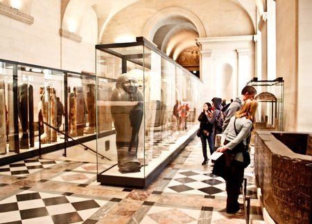 ancient relics: People at the mummy exhibition in the Louvre museum Editorial