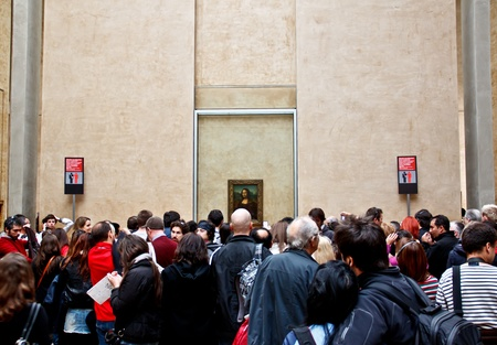 Visitors on queue to see the famous painting  Mona Lisa