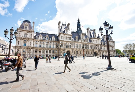 Paris town hall in sunny day