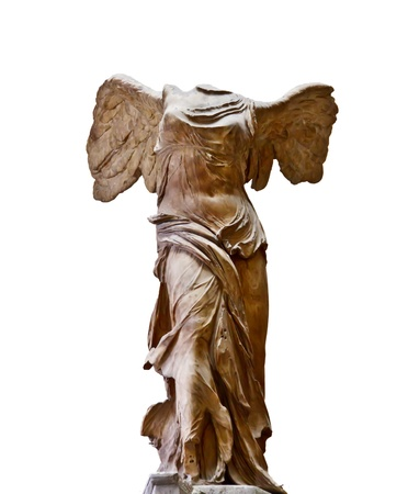Wing of victory sculpture isolated on white background