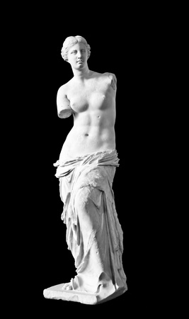 Venus de Milo sculpture isolated on black background