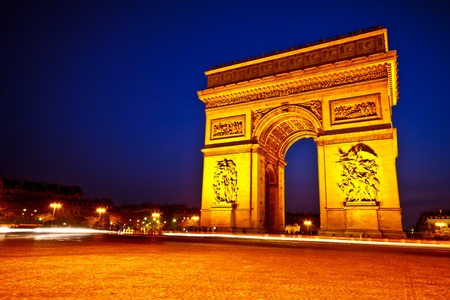 Arc de triomphe du etoile in twilight sky, Paris, France