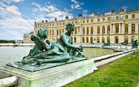 Versailles palace with blue sky, Paris, France  composition