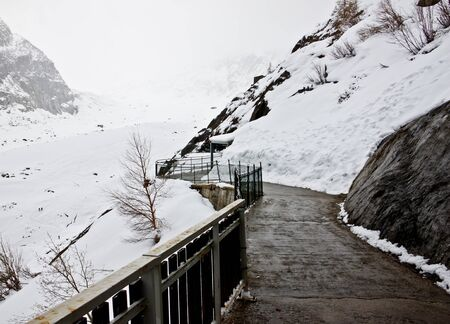 walkway to see Mer de Glace, the largest glacier in France photo