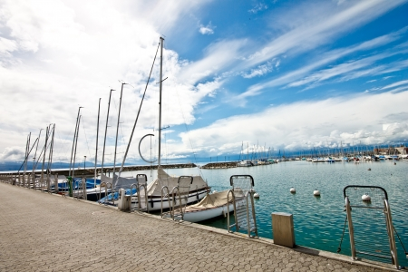 cruises at Ouchy port in Lake Geneva, Lausanne, Switzerland photo