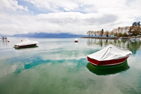 boats at Lake Geneva, Lausanne, Switzerland photo