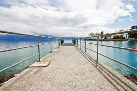 pier at Lake Geneva, Lausanne, Switzerland photo