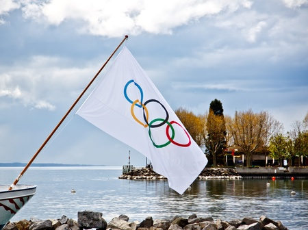 Olympic flag at the Olympic museum at Lake Geneva, Lausanne, Switzerland