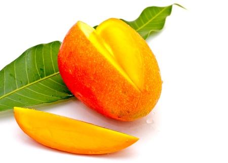 mango leaf: mango on white background Stock Photo