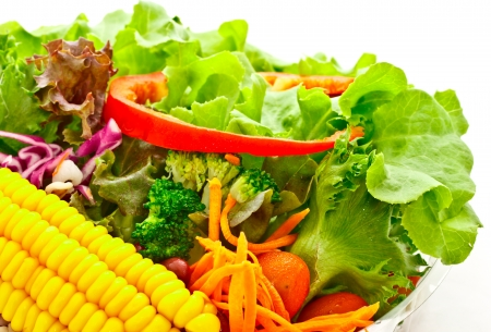 baclground: mixed vegetable salad on white baclground