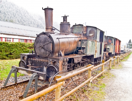 old steam train at Chamonix Mont Blanc station, France photo