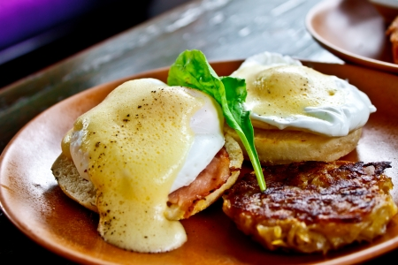 poached: Benedict eggs with fried potato Stock Photo