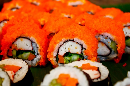 egg roll: califonia roll sushi, the Japanese food