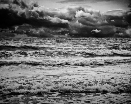 breaking wave: black and white inmage of sea storm