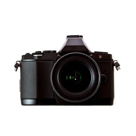 black camera on white background photo