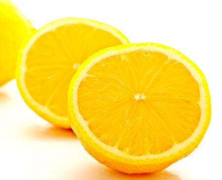 cut lemon on white background photo