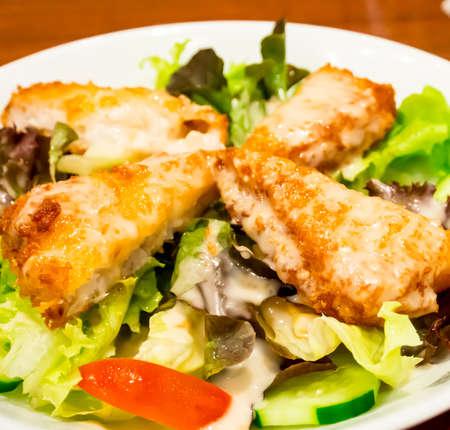 seafood salad: fried fish salad