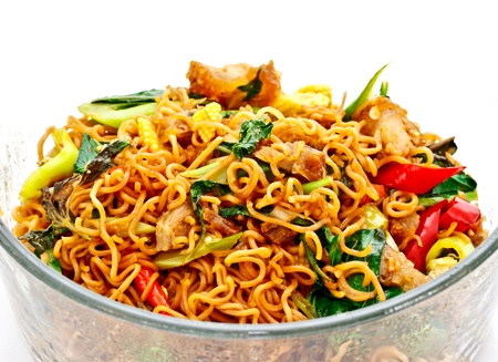 chinese noodles: Thai food; spicy fried noodle with pork  Stock Photo