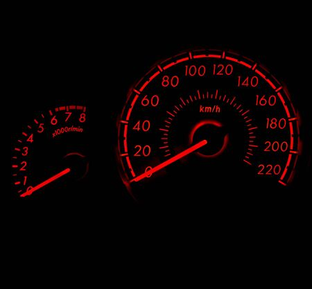 high torque: car speed meter in racing style Stock Photo