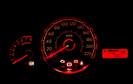 car speed meter in racing style photo