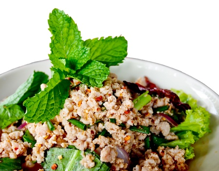Thai food, spicy minced pork with herb or Lab Stock Photo