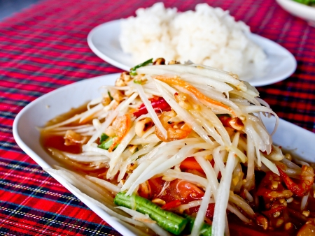 Thai food, spicy papaya salad or Somtum Stock Photo - 16420316