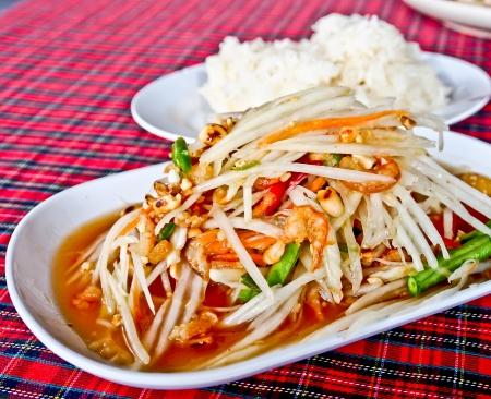 Thai food, spicy papaya salad or Somtum Stock Photo - 16420318