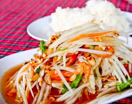Thai food, spicy papaya salad or Somtum Stock Photo - 16420315