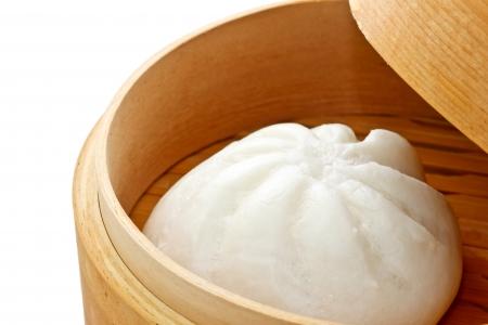 cha: Chinese bun in bamboo basket