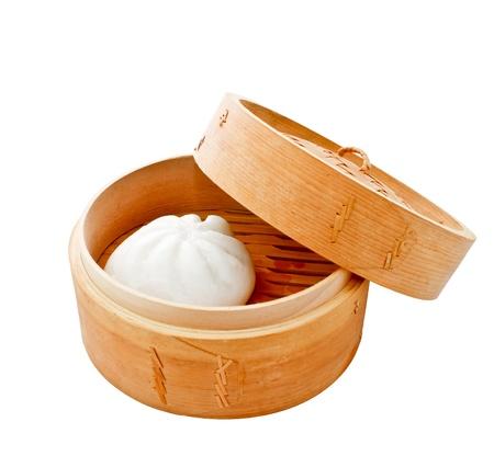 Chinese bun in bamboo basket