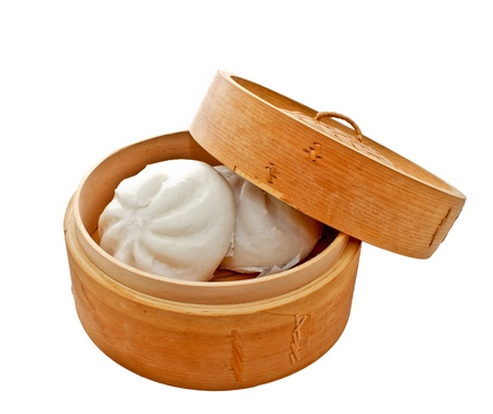 Chinese buns in bamboo basket
