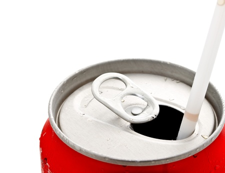 energy drinks: opened beverage can on white background